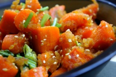 Carrot with maple syrup, turmeric, sesame seeds and coriander, Low FODMAP, Gluten Free, Vegan